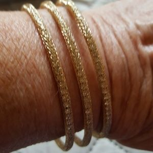 KENNETH JAY LANE 3 WIRE GOLD CUFF